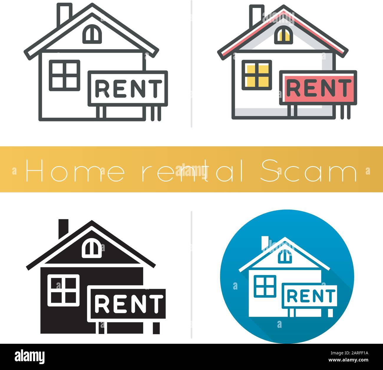 Agent Fake home rental scam icon. house, apartment for rent. fake real