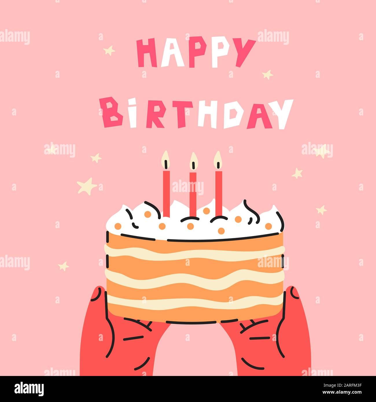 Birthday party cake.Happy Birthday lettering. Stock Vector