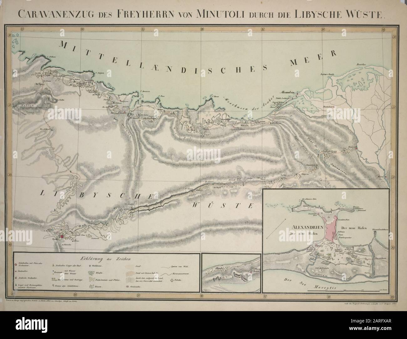 Caravan train of the Freyherr von Minutoli through the Libyan desert. Minutoli, Johann Heinrich Carl, baron of (1772-1846) (Author). Journey to the Stock Photo