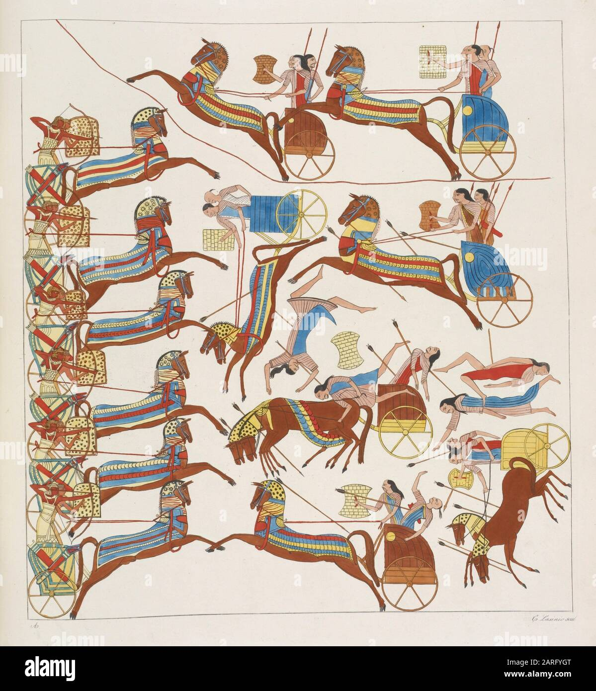 Battle of chariots. Follow up and end of the great figurative subject in the northern wall of the Speco d'Ibsambul [Abû Sunbul], of which we have the Stock Photo