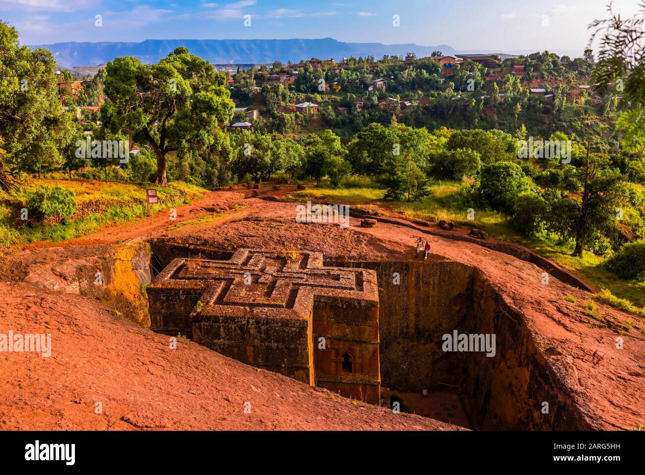 Beta Giyorgis (St. George's Church), Lalibela, Ethiopia. It is the best known and last built of the eleven rock-hewn monolithic churches in Lalibela. Stock Photo