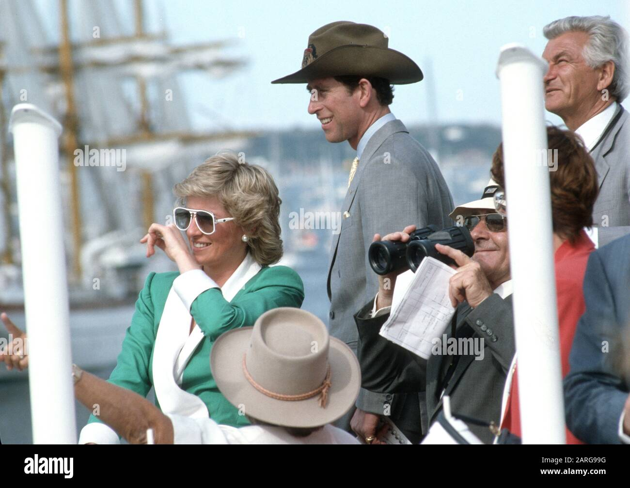 hrh prince charles and hrh princess diana attend australian bicentennial day sydney harbour during their royal tour of australia january 1988 stock photo alamy https www alamy com hrh prince charles and hrh princess diana attend australian bicentennial day sydney harbour during their royal tour of australia january 1988 image341492636 html