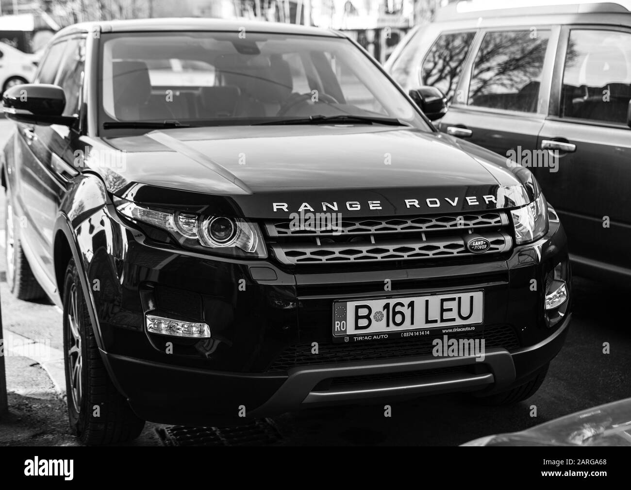 The New Range Rover Parked In Bucharest Romania 2020 Black And White Photo Stock Photo Alamy