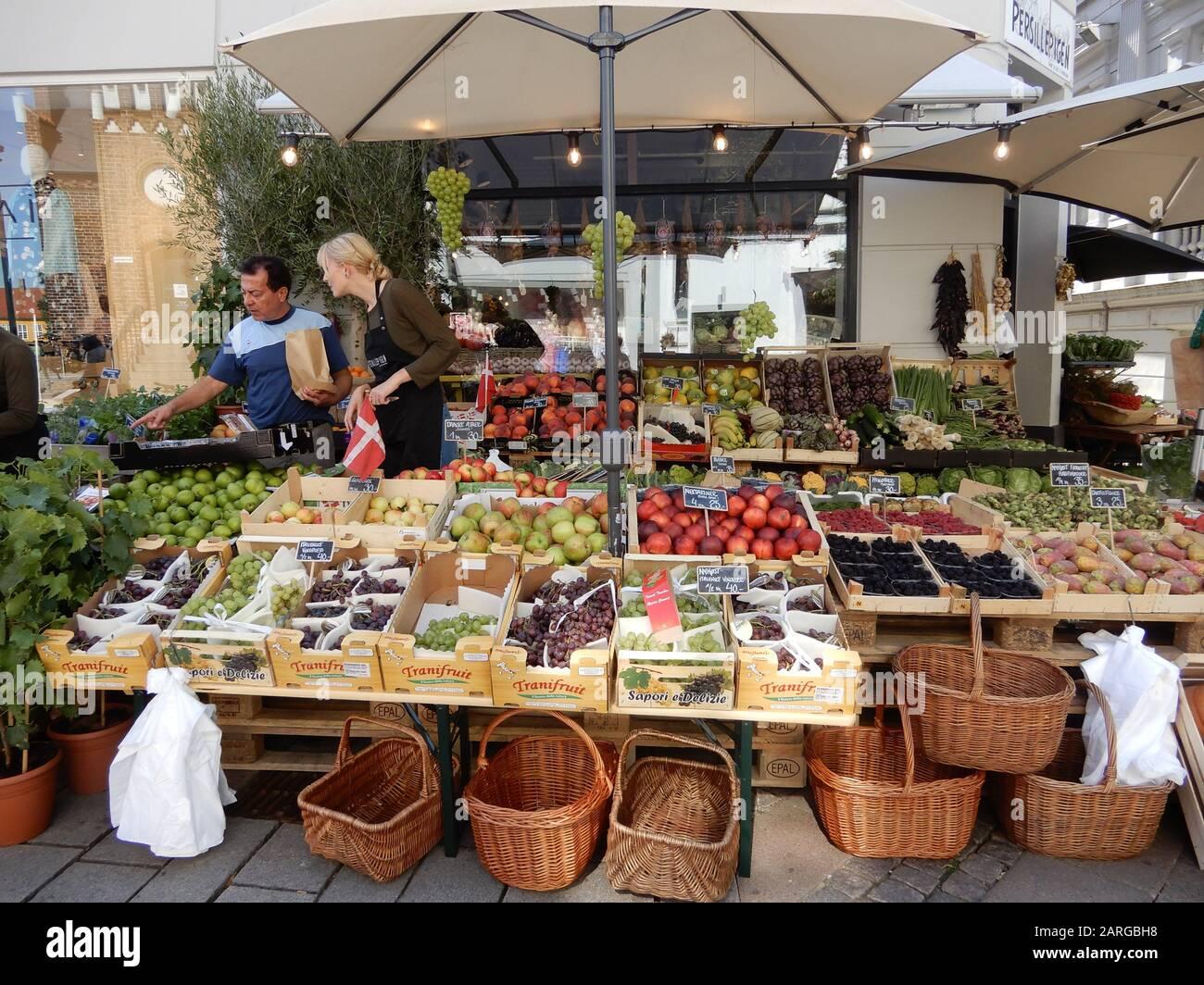 Outdoor Fruit Market, Roskilde, Denmark. Stock Photo