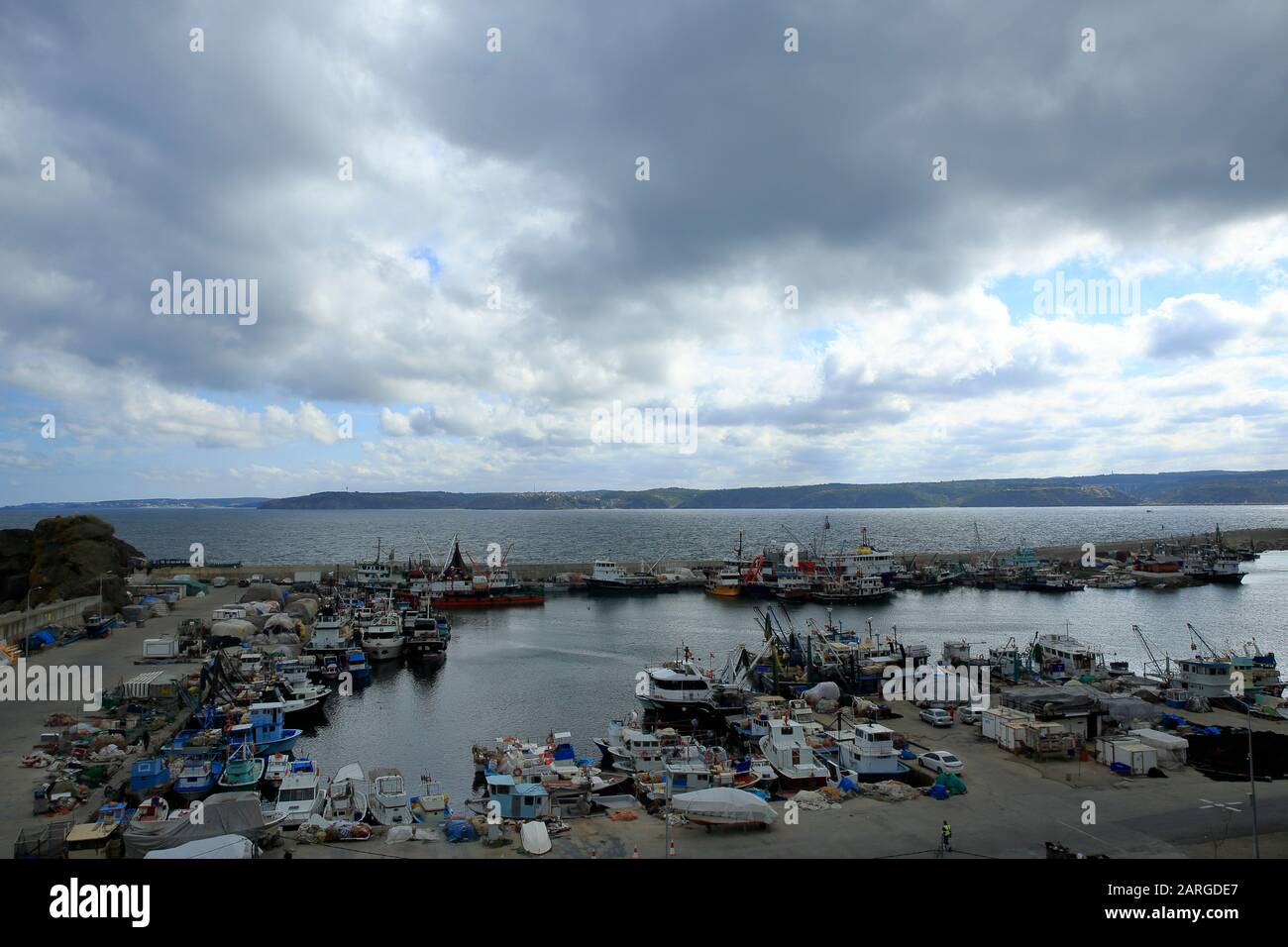 Istanbul, Turkey, November 5, 2018: Rumeli Feneri fishing port. It is located at the entrance to the Bosphorus from the Black Sea. Stock Photo