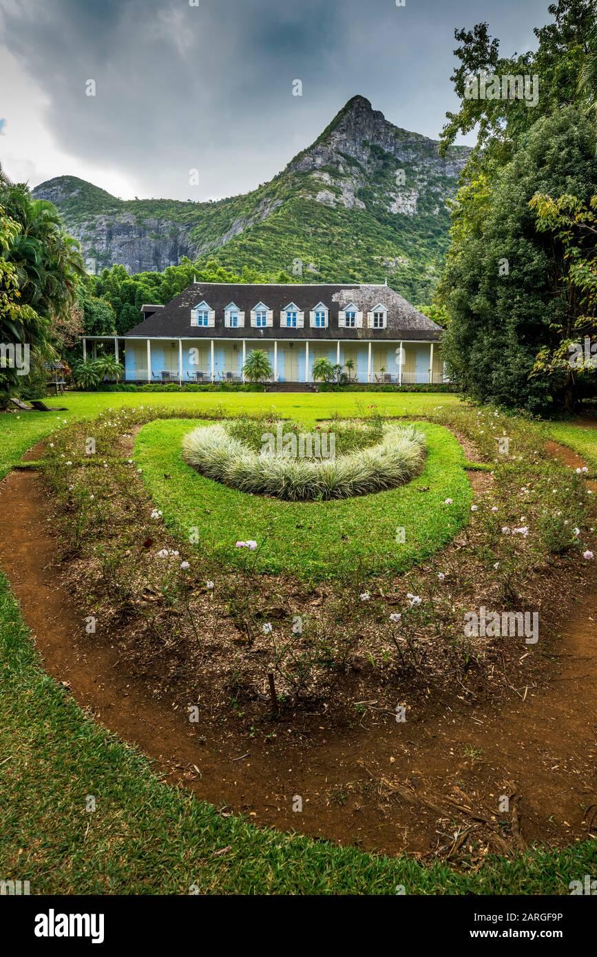 Ornamental gardens of Eureka La Maison Creole colonial house, Montagne Ory, Moka, Mauritius, Indian Ocean, Africa Stock Photo