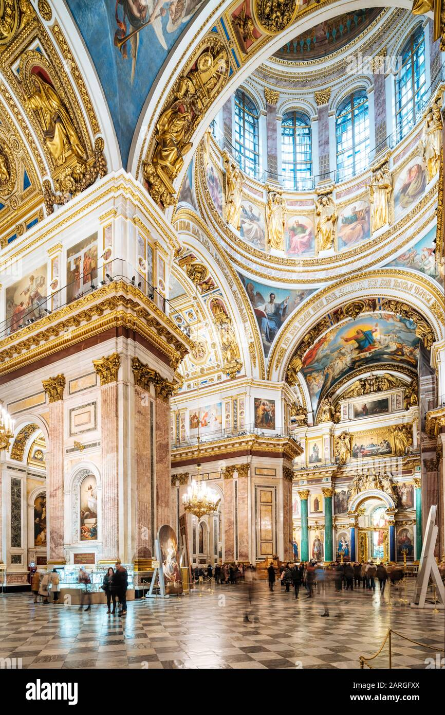 Interior of St. Isaac's Cathedral, St. Petersburg, UNESCO World Heritage Site, Leningrad Oblast, Russia, Europe Stock Photo