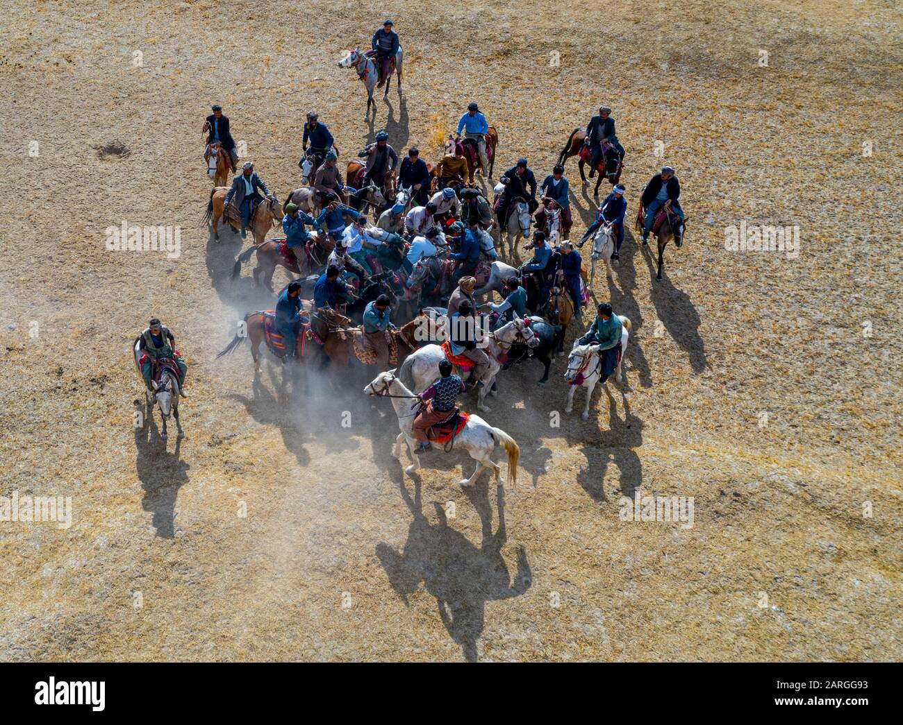 Aerial of a Buzkashi game, Yaklawang, Afghanistan, Asia Stock Photo