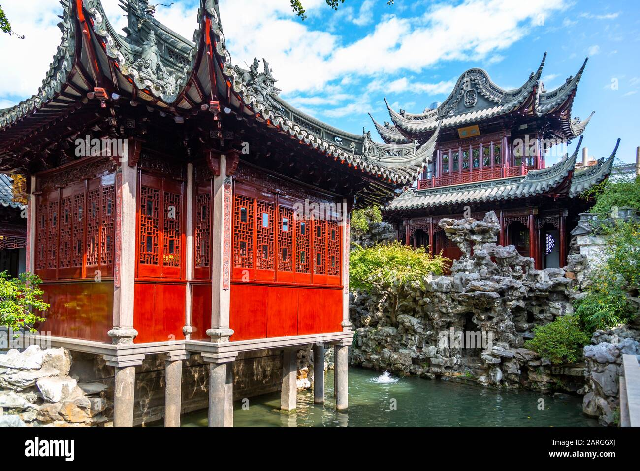 View of traditional Chinese architecture in Yu Garden, Shanghai, China, Asia Stock Photo
