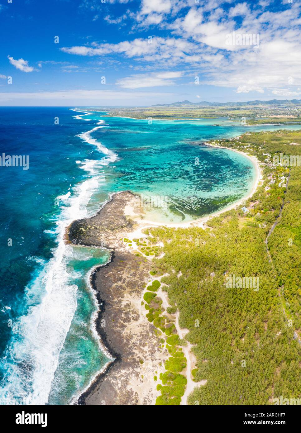 Aerial panoramic of tropical Public Beach washed by the ocean waves, Poste Lafayette, East coast, Mauritius, Indian Ocean, Africa Stock Photo