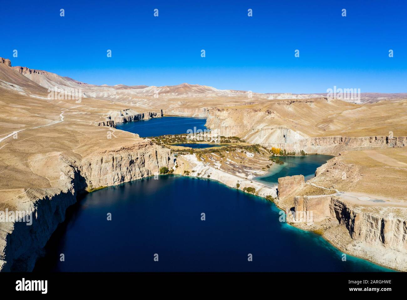 Snow capped mountain scenery at sunset in the Band-E-Amir National Park, Afghanistan, Asia Stock Photo