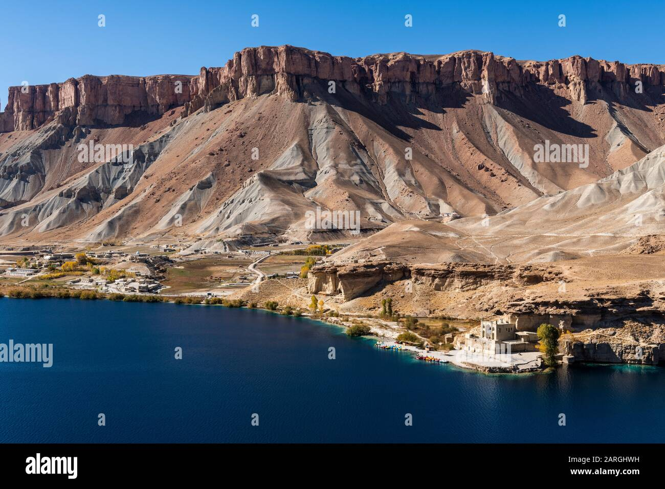 View over the deep blue lakes of the Band-E-Amir National Park, Afghanistan, Asia Stock Photo
