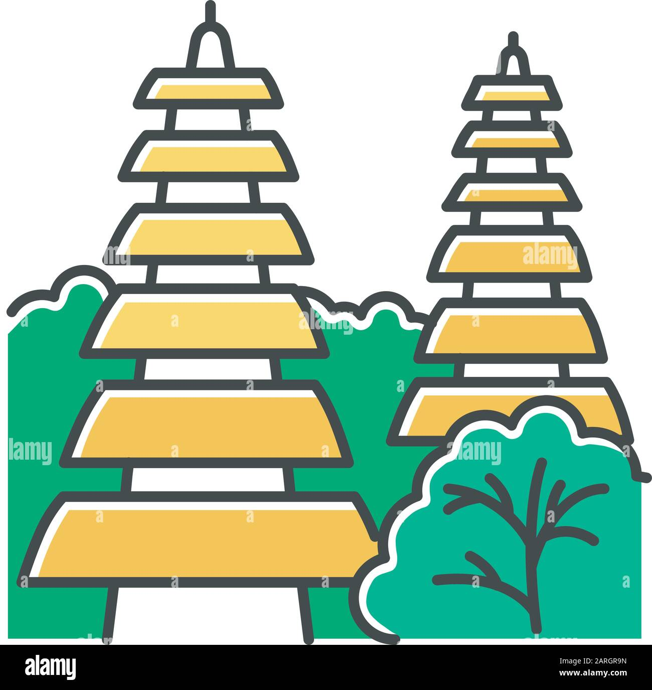 Pura Tanah Lot Temple In Bali Color Icon Indonesian Touristic Destinations And Religious Places Hinduist Temple With Traditional Balinese Grass Roof Stock Vector Image Art Alamy