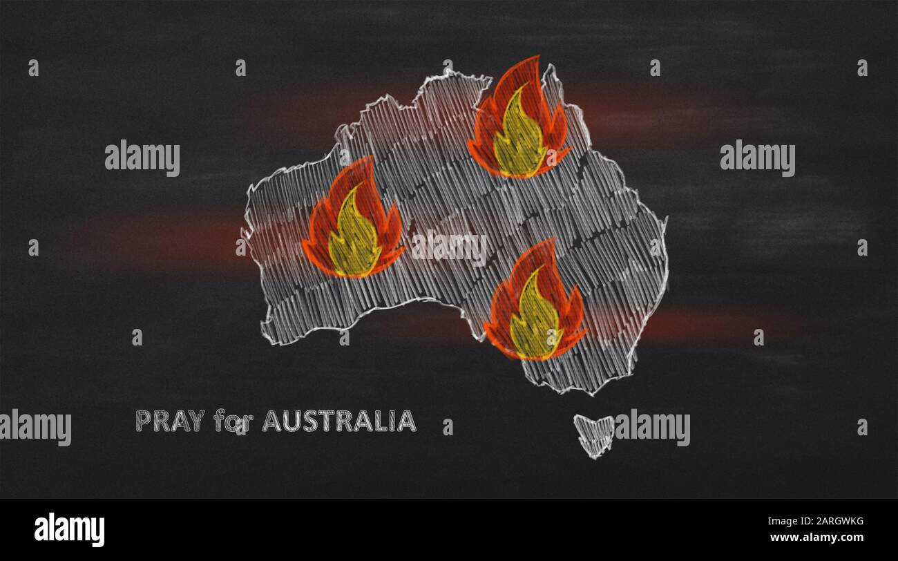 Burning continent with words Pray for Australia Stock Photo
