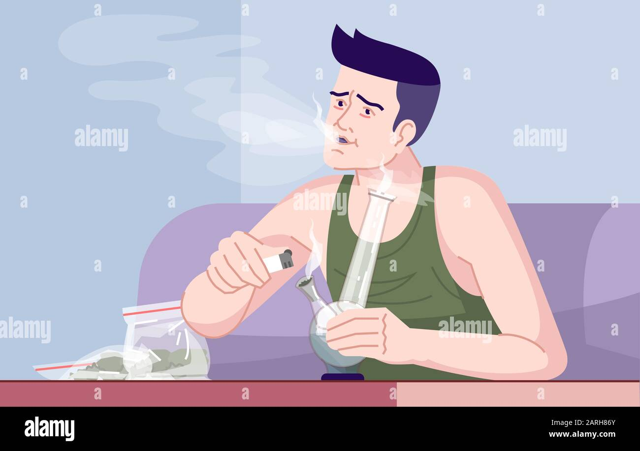 Weed Smoker Flat Vector Illustration Cannabis Addiction Narcomania Effects On Psychology Human Weakness Adult Caucasian Man Smoking Marijuana Wit Stock Vector Image Art Alamy