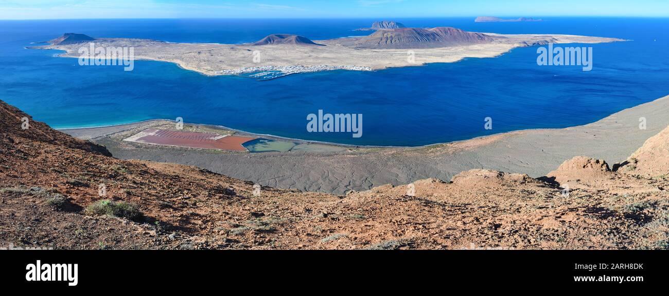 Panoramic view of Mirador Del Rio in Lanzarote, Canary Islands, selective focus Stock Photo