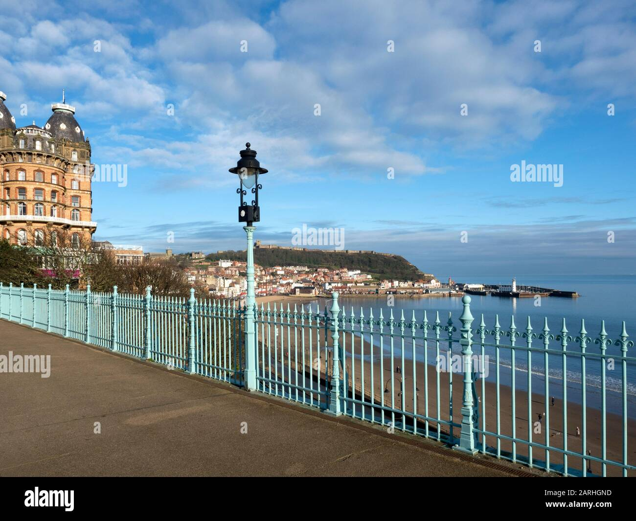 View over the South Bay from the Spa Bridge and Grand Hotel in Scarborough North Yorkshire England Stock Photo