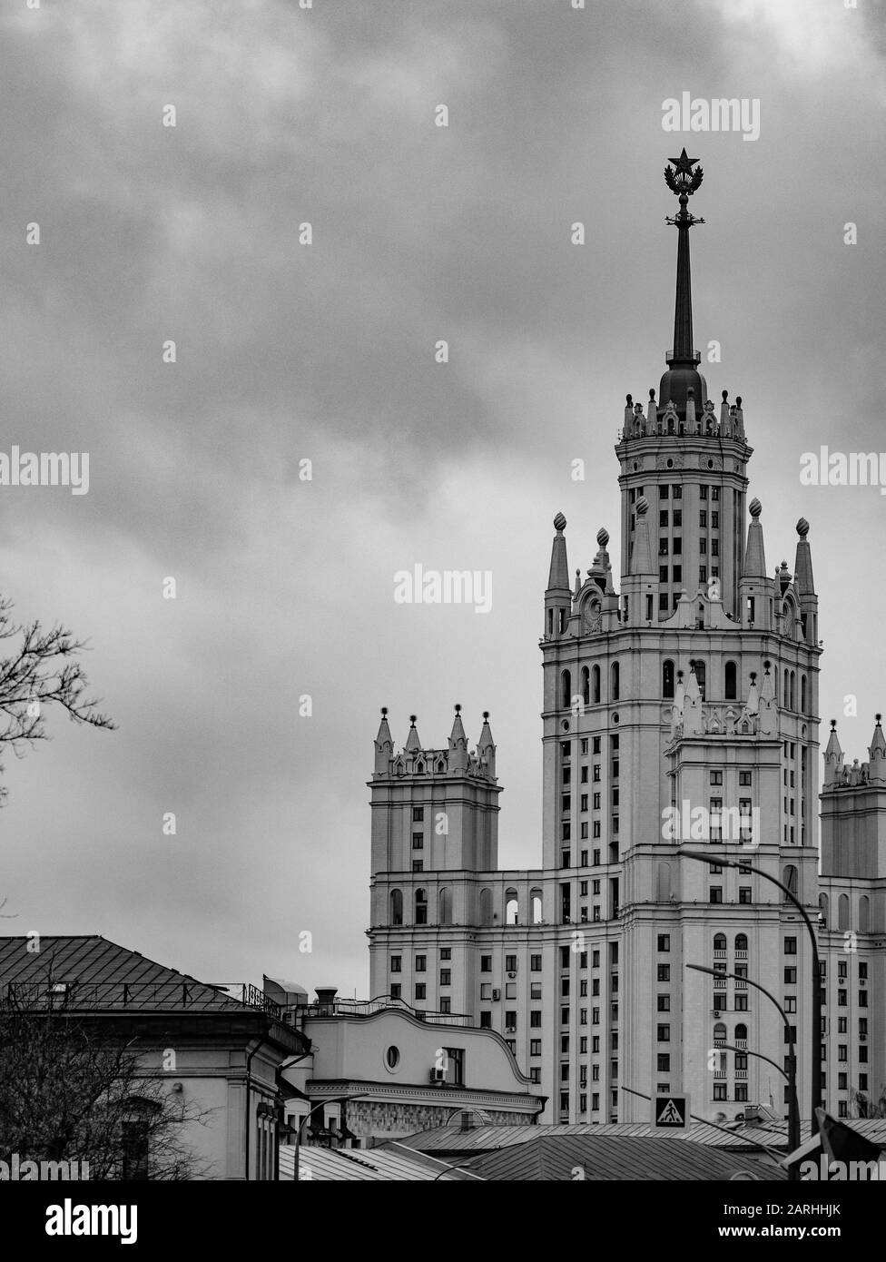 High-rise landmark residential building on Kotelnicheskaya Embankment at Yauza in 1938-1952 in Moscow is one of seven realized by Stalin skyscrapers i Stock Photo