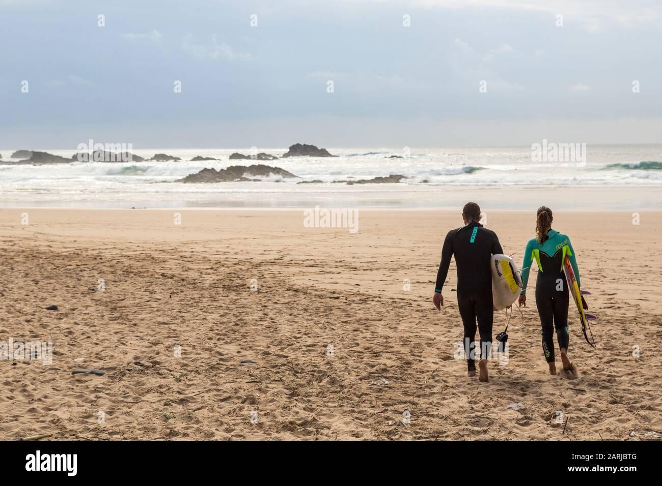 Surfing, Praia do Castelejo, Algarve, Portugal Stock Photo