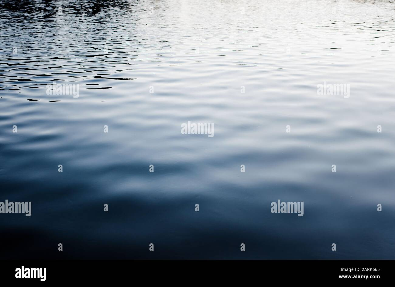 dark and moody water ripples and reflections at sunset Stock Photo