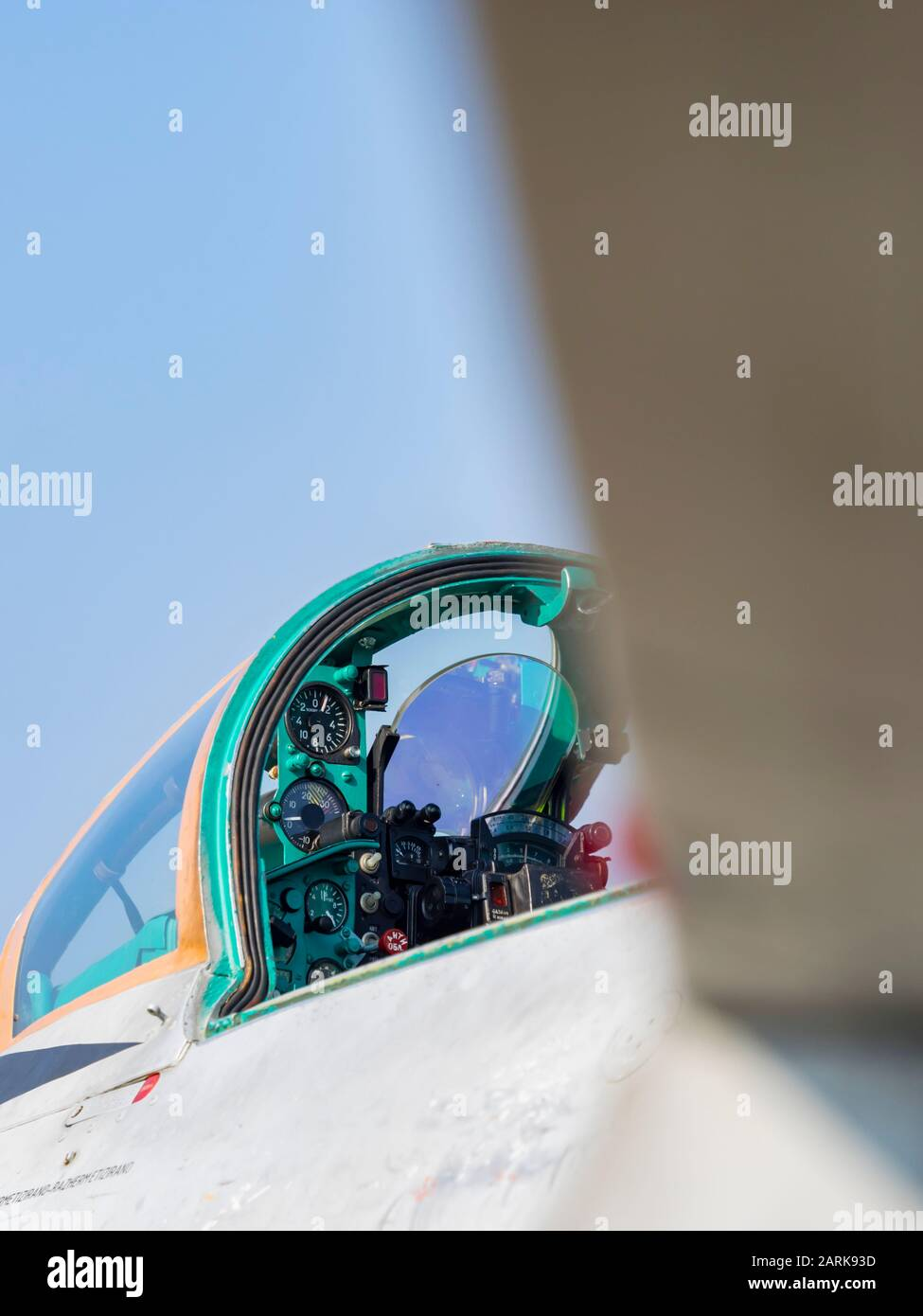 MiG-21 BIS cockpit detail telephoto view Stock Photo