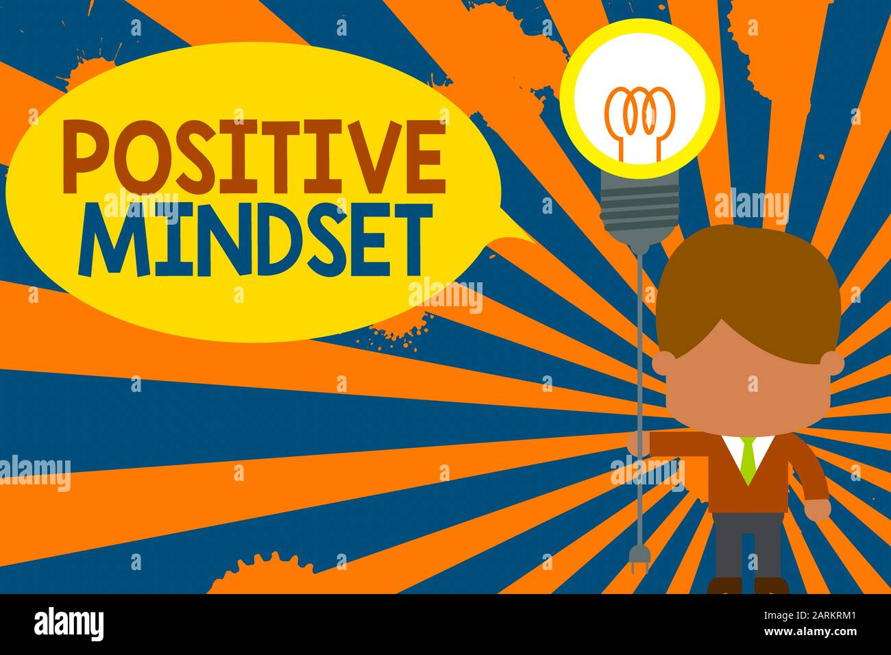 Conceptual hand writing showing Positive Mindset. Concept meaning mental attitude in wich you expect favorable results Standing man tie holding plug s Stock Photo