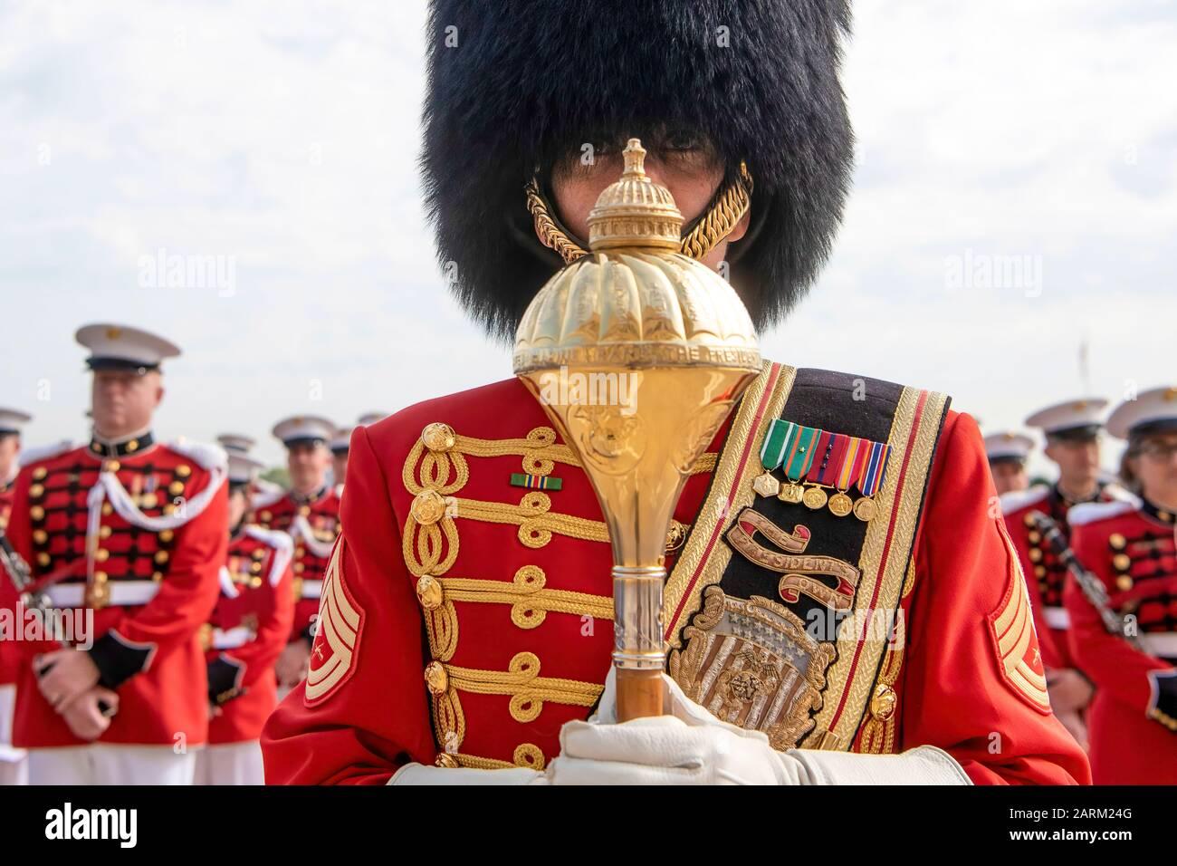 The United States Marine Band takes part in the honor cordon as U.S. Secretary of Defense Dr. Mark T. Esper welcomes German Minister of Defense Annegret Kramp-Karrenbauer to the Pentagon, Washington, D.C., Sept. 23, 2019. (DoD photo by Lisa Ferdinando) Stock Photo