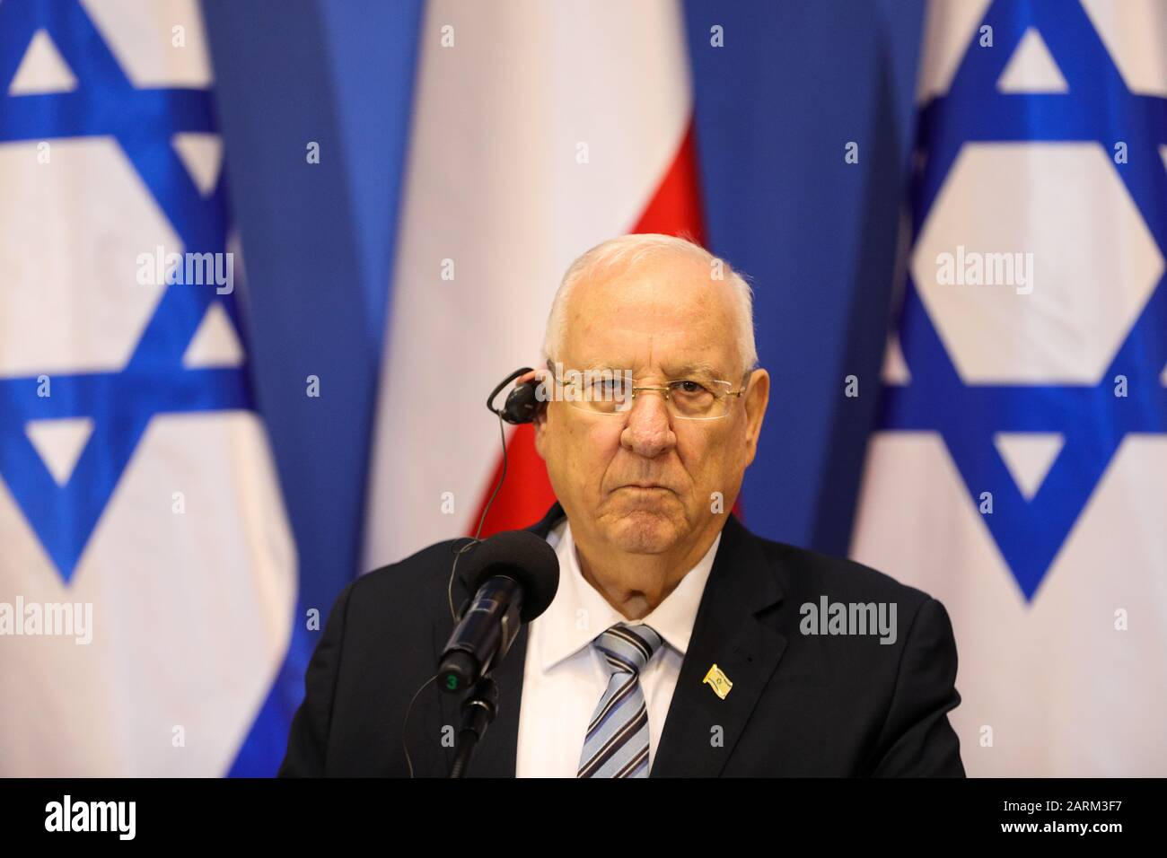 Oswiecim, Poland. 27th Jan, 2020. President of Israel Rueven Rivlin speaks during a press conference. 75th anniversary of the liberation of former Nazi German concentration camp Auschwitz-Birkenau. KL Auschwitz-Birkenau was liberated on 27 January 1945. Credit: SOPA Images Limited/Alamy Live News Stock Photo