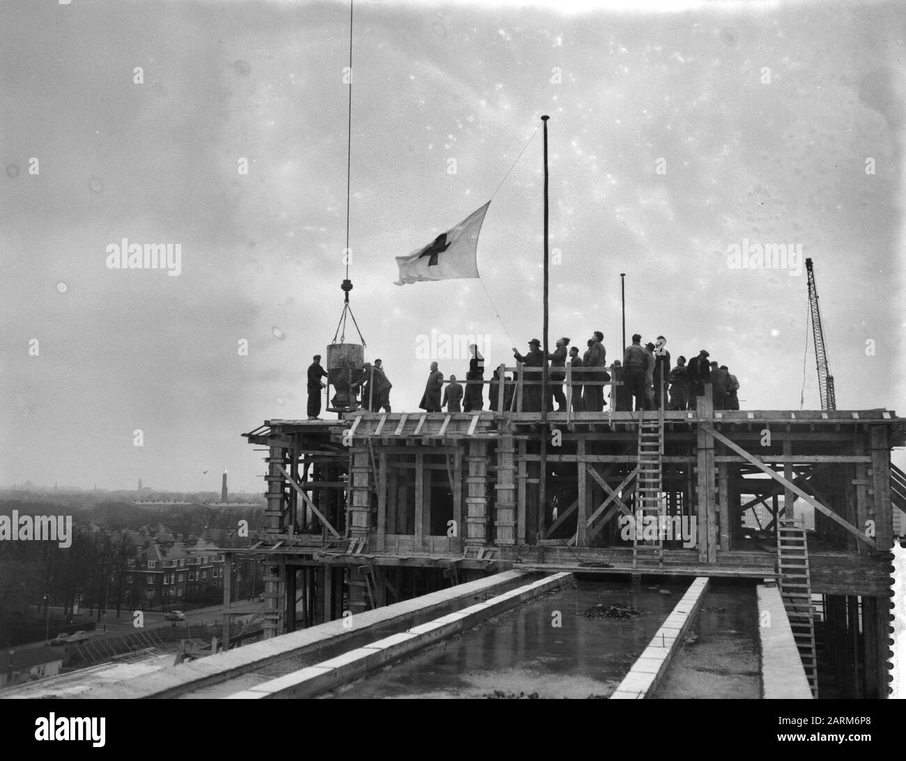 Hoisting Of The Flag At The Roode Kruisziekenhuis In The Hague