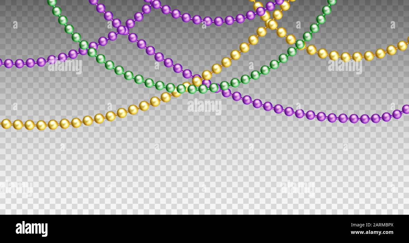 Vector Illustration Of Mardi Gras Beads In Traditional Colors