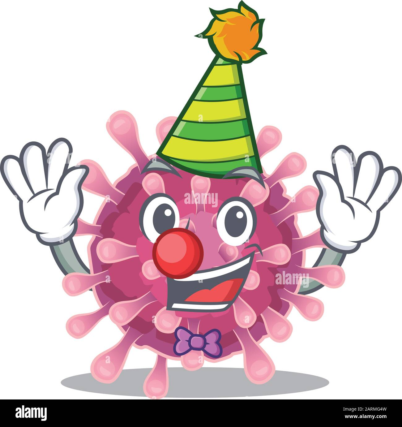 funny clown corona virus cartoon character mascot design stock vector image art alamy https www alamy com funny clown corona virus cartoon character mascot design image341585801 html