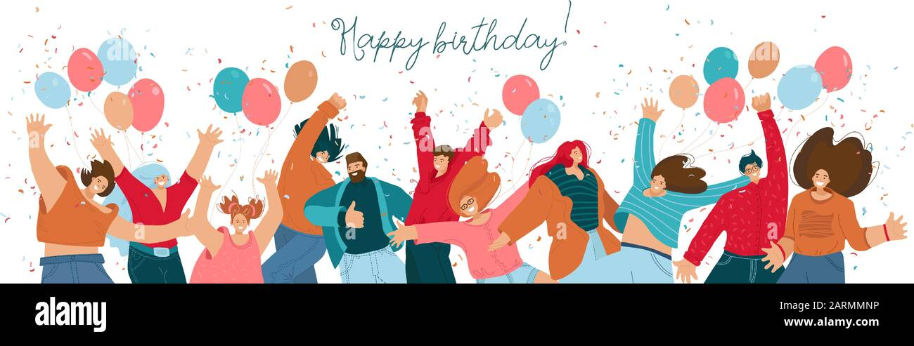 Pleasant Happy Birthday Concept With Celebrating Cheerful Joyfull People Personalised Birthday Cards Veneteletsinfo