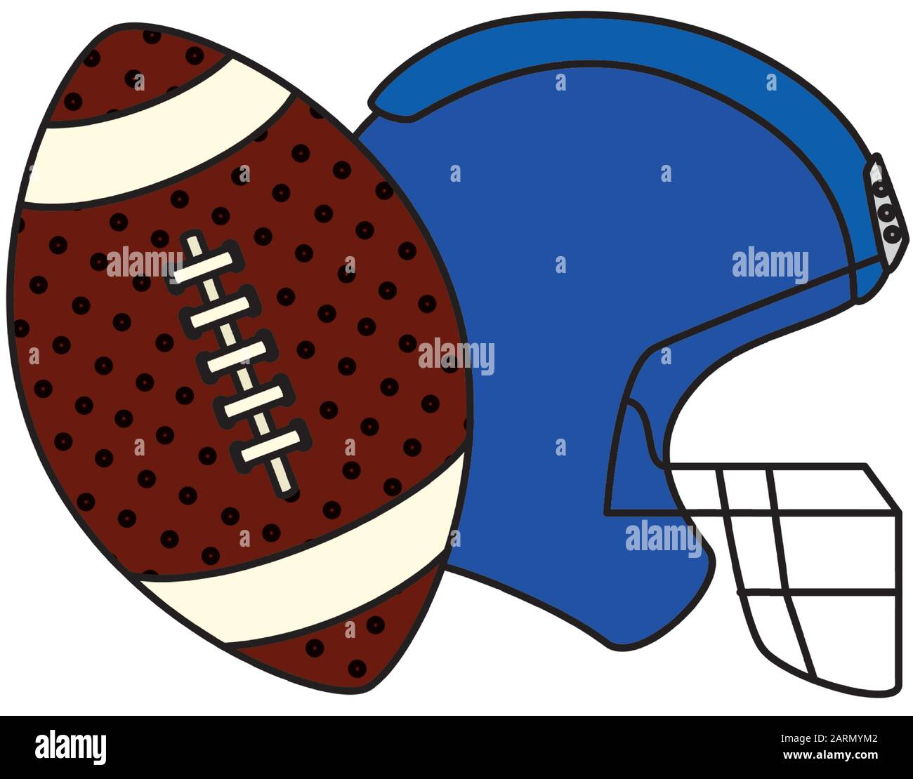 Ball And American Football Helmet Isolated Icon Stock Vector Image Art Alamy
