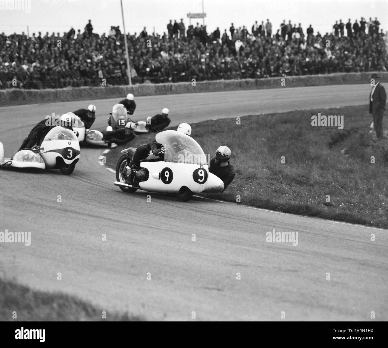 TT Assen 1963  TT to Assen. The sidecar class. Front number 9 Benton with Bulgin, number 3 Koelle with He number 13 A. Birch with Q. Birch Date: 29 June 1963 Location: Axis Keywords: motorcycles, motorsport, races Personal name: A. Birch, Hess, Q. Birch Institution name: TT Stock Photo