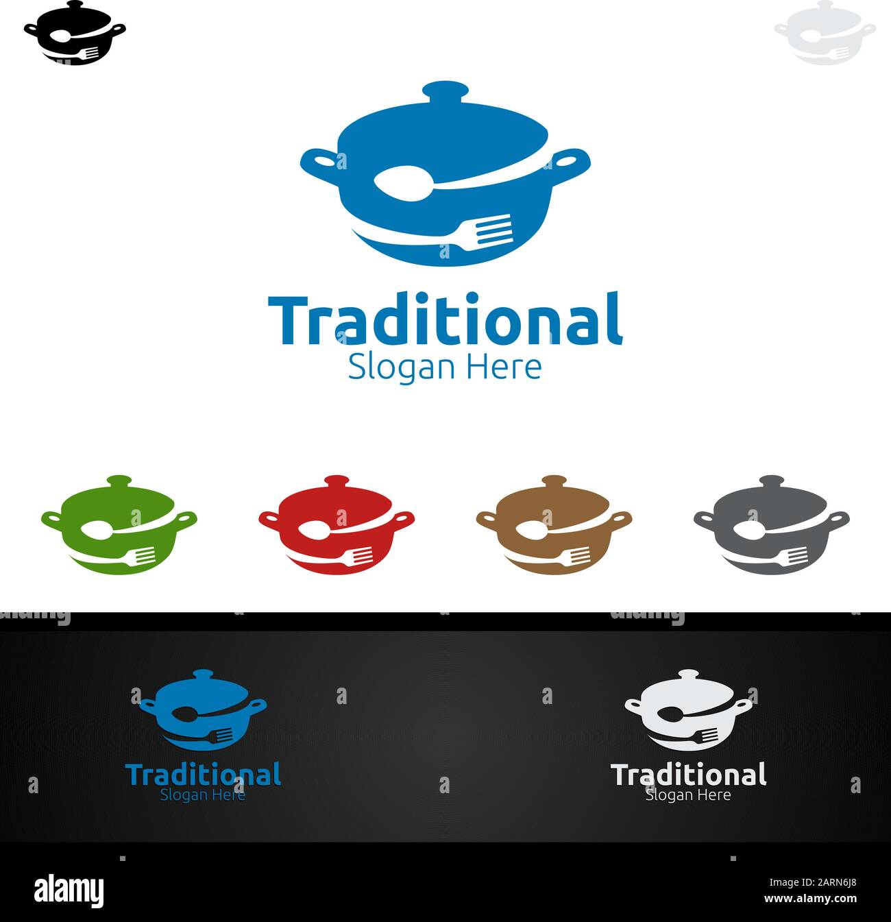Traditional Food Logo For Menu Restaurant Or Cafe Stock Vector Image Art Alamy