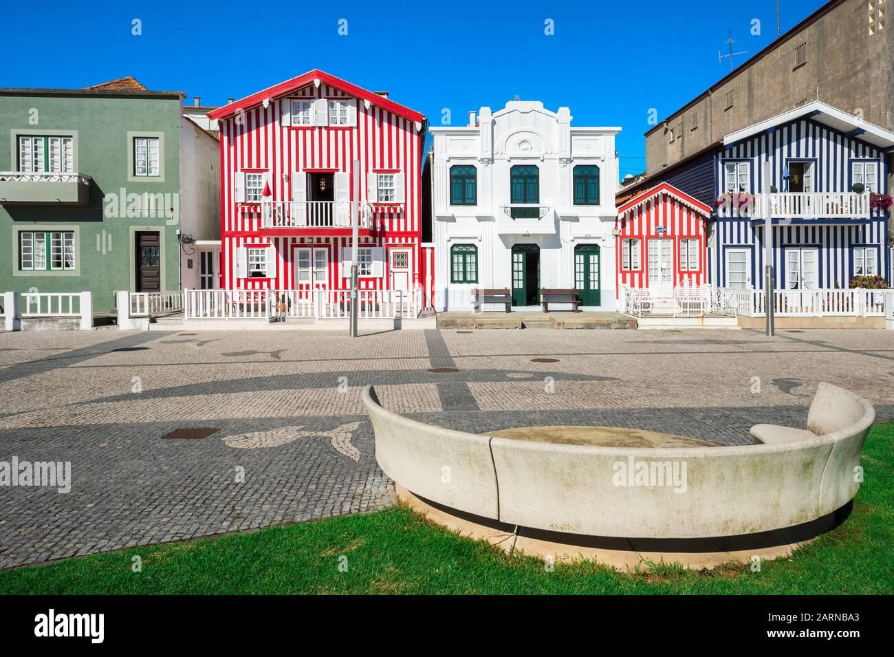 """""""Palheiros"""", Typical colorful houses, Costa Nova, Aveiro, Beira, Portugal Stock Photo"""