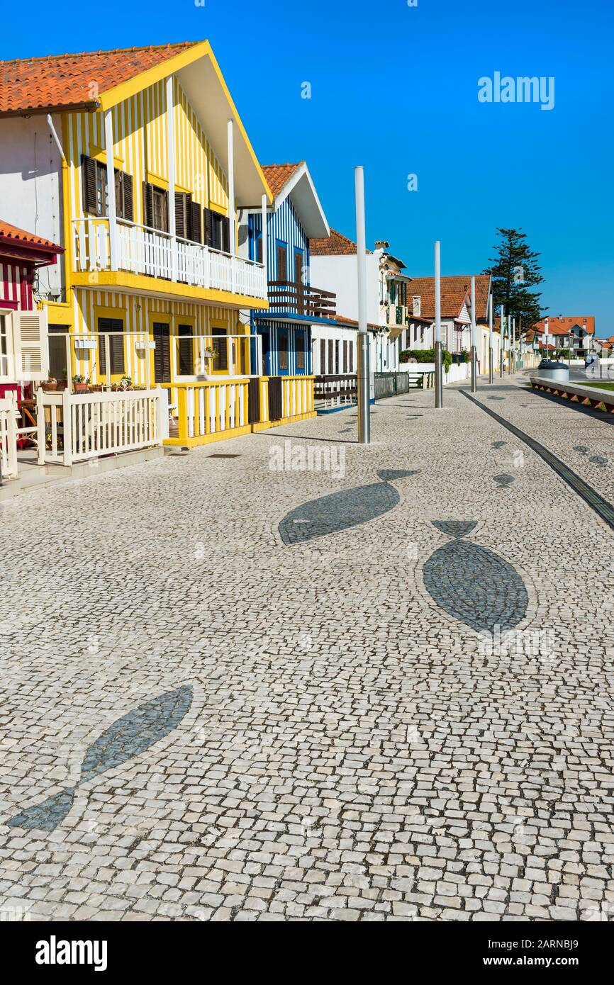 Palheiros typical houses, Costa Nova Beach, Aveiro, Venice of Portugal, Beira Littoral, Portugal Stock Photo