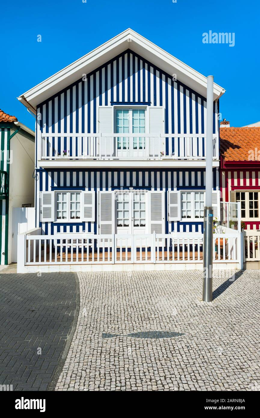 Palheiros typical houses, Costa Nova Beach, Aveiro, Venice of Portugal, Beira Littoral, Portugal Stock Photo