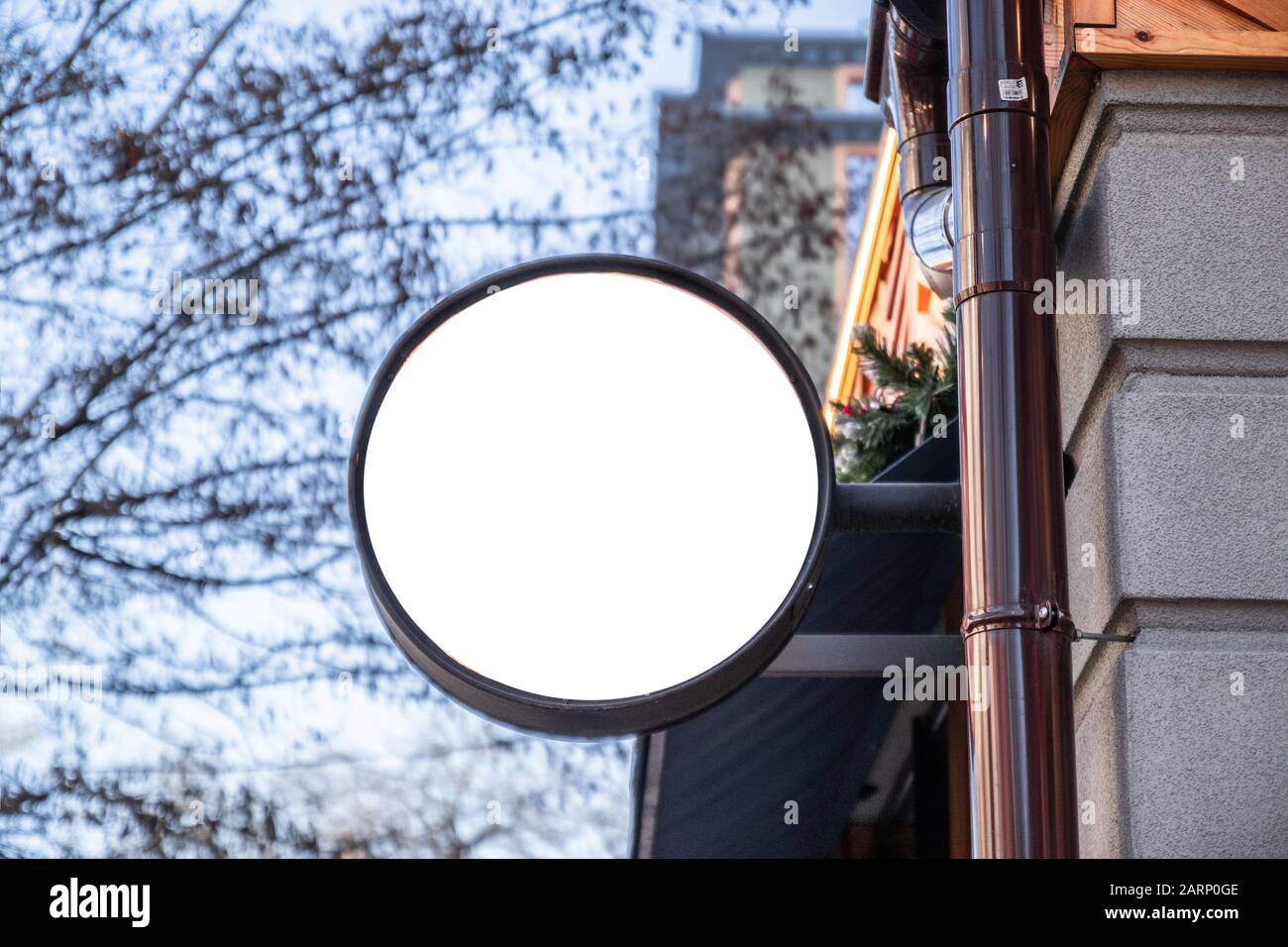 Round Frame Signboard Template For Cafe Restaurant And Catering White Logo Design Example Mockup Stock Photo Alamy