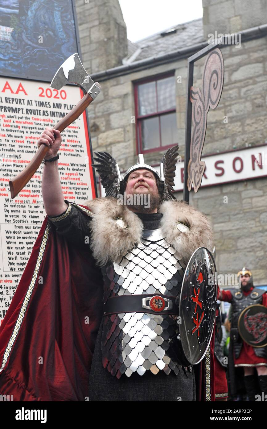 Lerwick Shetland 28th January 2020. Guizer Jarl Liam Summers representing the Norse God Odin leads his squad of guizers through the streets of Lerwick which culminated in the buring of a viking galley. Credit: Dave Donaldson/Alamy Live News Stock Photo