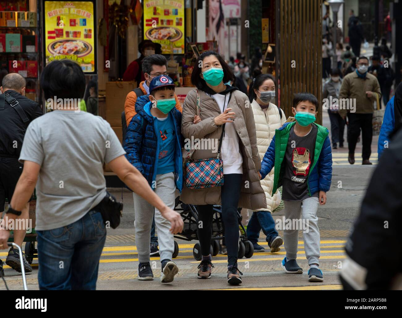 Hong Kong, China. 29th Jan, 2020. Fear of the 2019 Novel Coronavirus from Wuhan China is evident on the streets of Hong Kong. The majority of the people don surgical masks before venturing out Credit: Jayne Russell/Alamy Live News Stock Photo