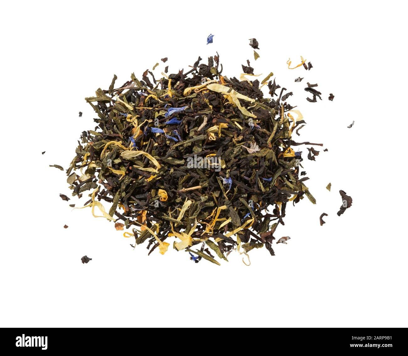 Dry tea with herbs isolated on white background. Mix green tea. Pile of mixed black and green tea with dry rosehip berries, calendula, petal. Stock Photo