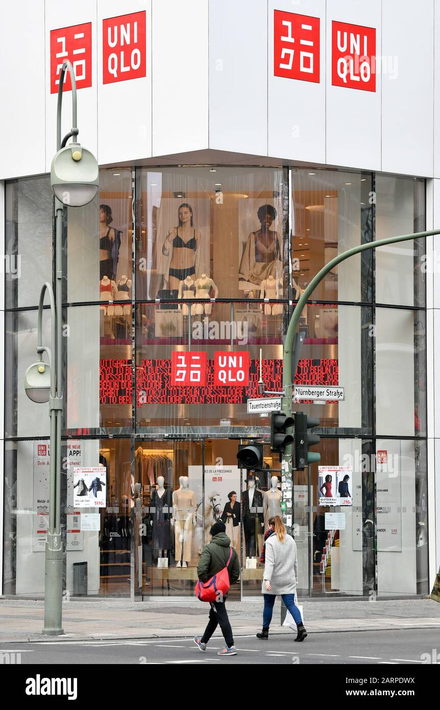 "Berlin, Germany. 9th Jan, 9. The ""Uniqlo"" logo at the entrance"