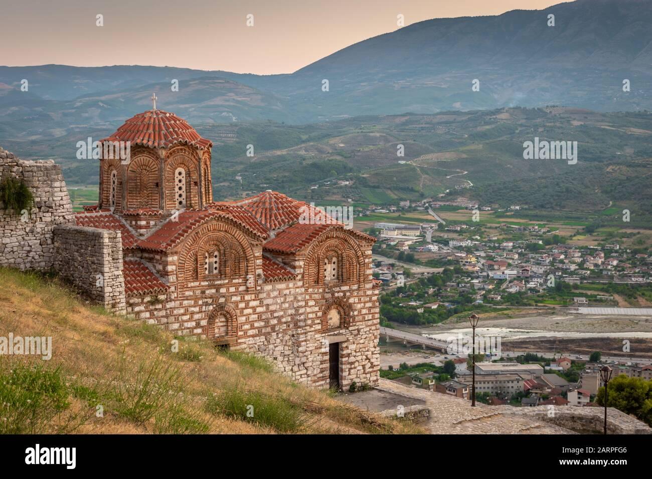Byzantine church on the hilltop, Berat, Albania Stock Photo