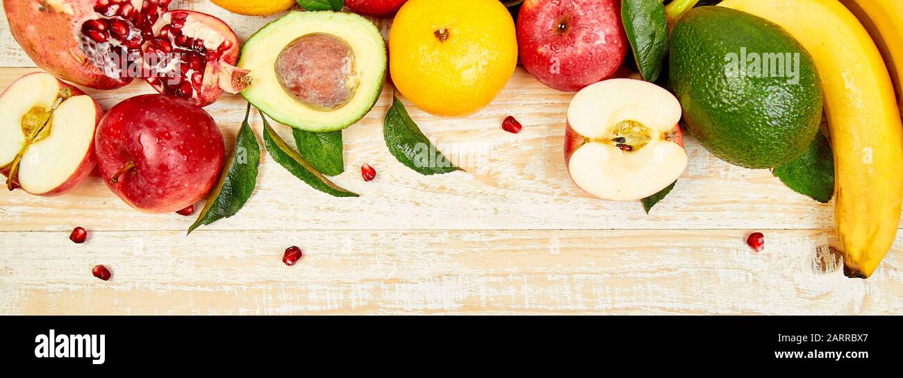 Banner Of Organic Food Background Healthy Food Selection Clean Eating Selection Fruit Vegetable Superfood On Wooden Background High Resolution P Stock Photo Alamy