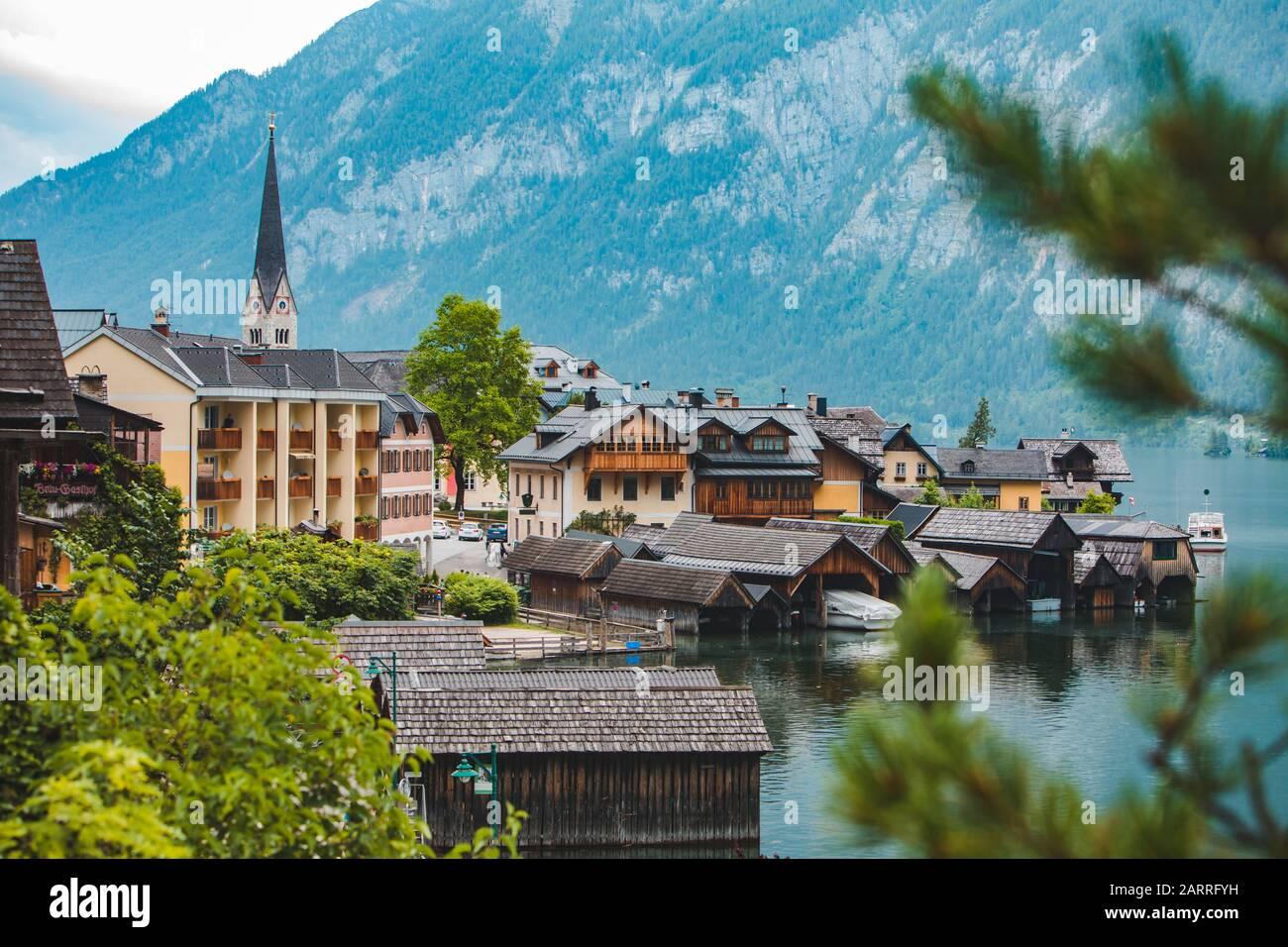 panoramic view of hallstatt city in austria Stock Photo