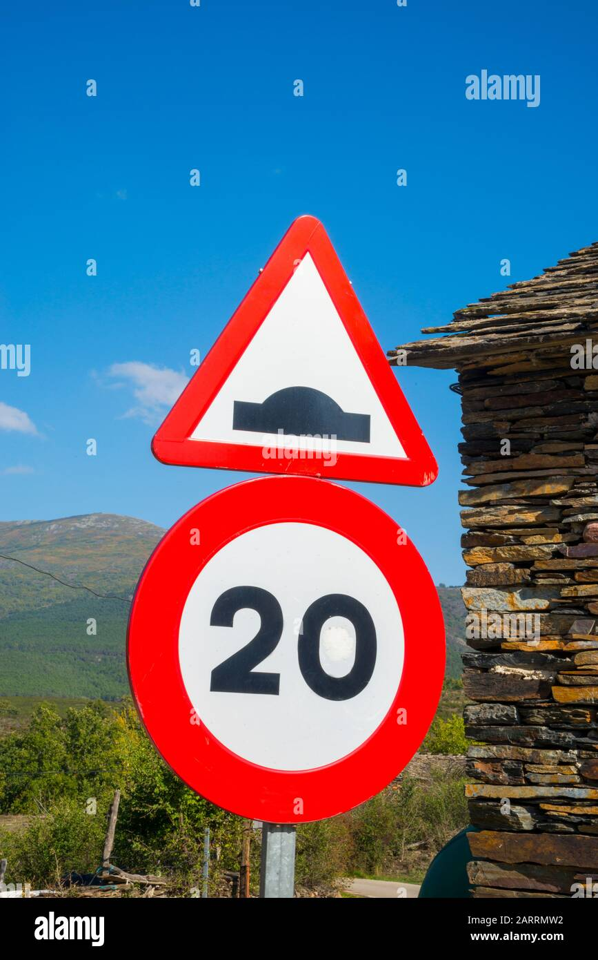 Speed limit traffic sign. Spain. Stock Photo