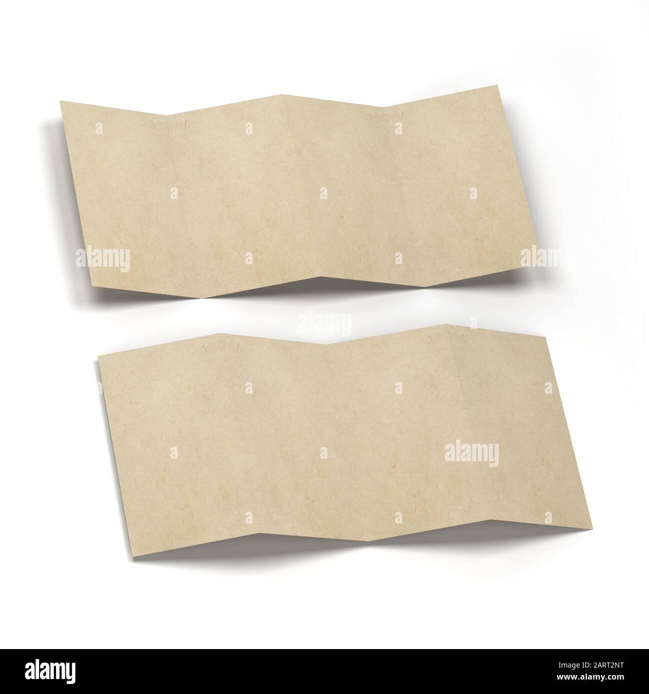 4-folded brochure mockup. 3d illustration isolated on white background Stock Photo