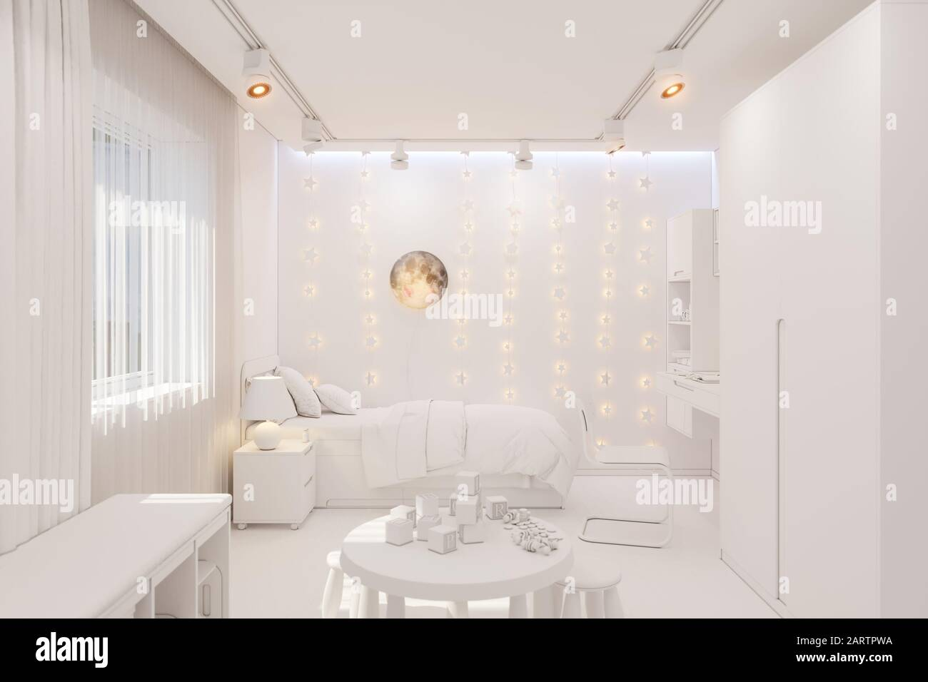 3d Render Of The Kid Bedroom In White Color Visualization Of The Concept Of Interior Design Kids Room For Boy In A Space Theme Stock Photo Alamy