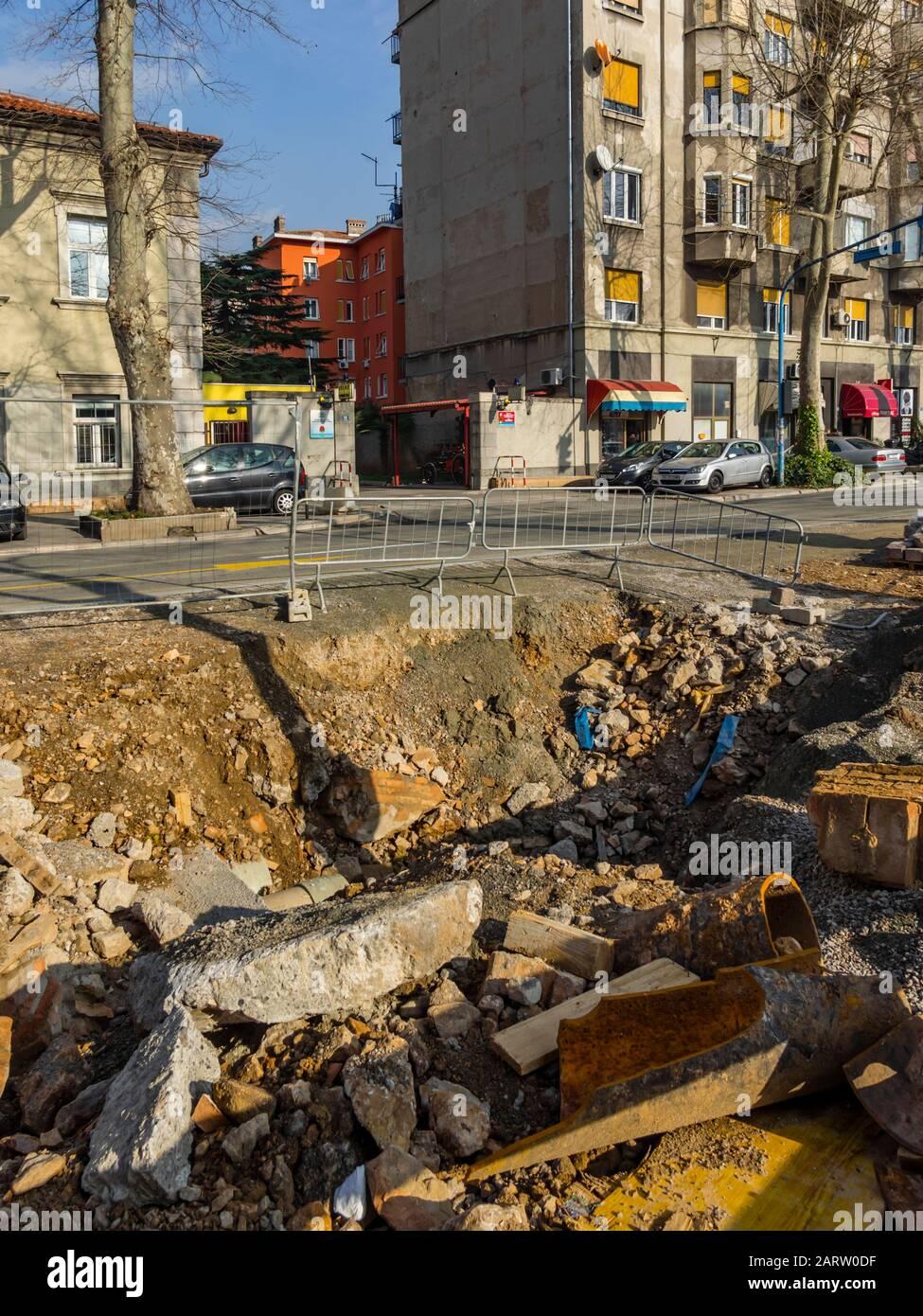 Kresimir street unfinished reconstruction Kresimirova ulica in Rijeka in Croatia 01.2020 Stock Photo